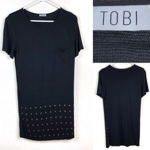 Tobi tee shirt dress with copper stud detailing